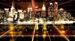 抽象夜城市背景 免版税图库摄影