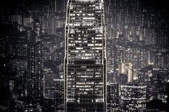 抽象夜都市风景 香港 免版税库存图片
