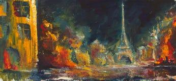 抽象夜巴黎 原始的帆布的油老城市 现代 库存照片