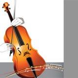 抽象大提琴和音乐家 免版税库存图片