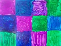 抽象大胆的方形的瓦片被绘 库存照片