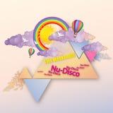抽象天空、云彩和彩虹 盖子或小册子设计 免版税图库摄影