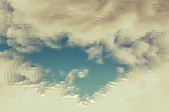 抽象天空背景挤压立方体,艺术 皇族释放例证