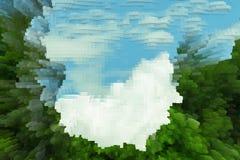 抽象天空背景挤压立方体,cloudscape 皇族释放例证