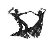 抽象夫妇跳舞 免版税库存图片