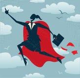 抽象女实业家是超级英雄 免版税库存照片