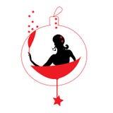 抽象妇女剪影圣诞节装饰 免版税图库摄影