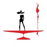 抽象妇女剪影黑色和红色玻璃 图库摄影