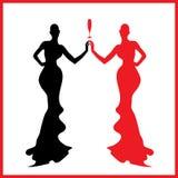 抽象妇女剪影黑色和红色玻璃 免版税库存照片