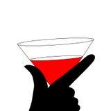 抽象妇女剪影黑色和红色玻璃 库存照片