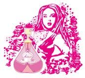 抽象妇女和瓶香水 免版税库存照片