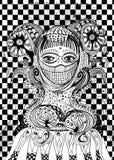 抽象妇女女教士黑白的线艺术 免版税库存照片