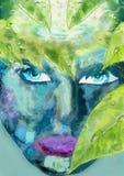 抽象妇女的面孔有绿色叶子的 概念许多生态的图象我的投资组合 免版税库存图片