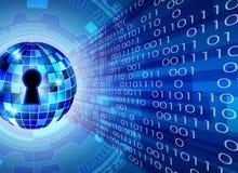 抽象安全技术背景、关键锁和数字式te 免版税库存照片