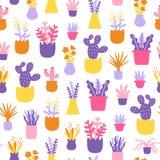抽象家庭植物五颜六色的无缝的样式 图库摄影