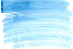 抽象宽蓝色水彩绘画的技巧 免版税库存照片