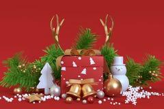 抽象对象圣诞节装饰圣诞节背景礼物盒 库存照片