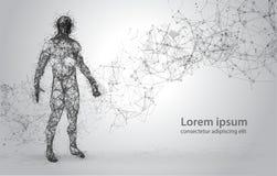 抽象导线框架人体 在白色背景的多角形3d模型 多低的小点和的线 免版税库存图片