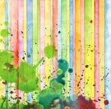 抽象小条和污点水彩绘画 免版税库存照片