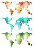 抽象小点世界地图,传染媒介集合 免版税库存图片