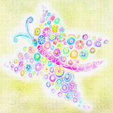 抽象小点和圈子在蝴蝶形状  库存照片