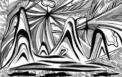抽象山和波浪 向量例证
