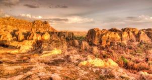 抽象岩层在日落的,马达加斯加Isalo国立公园 库存图片
