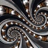 抽象工业滚珠轴承螺旋背景分数维 与金属球的双重螺旋反复样式,被变形负担r 库存照片