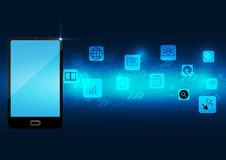 抽象巧妙的在深蓝背景的电话数字式应用 库存例证