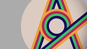 抽象平的五颜六色的线流动动画 库存例证