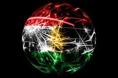 抽象库尔德斯坦拷贝闪耀的旗子,圣诞节假日球概念隔绝在黑背景 皇族释放例证