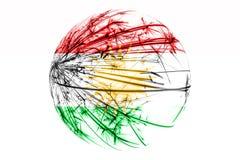 抽象库尔德斯坦拷贝闪耀的旗子,圣诞节球概念隔绝在白色背景 库存例证