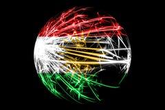 抽象库尔德斯坦拷贝闪耀的旗子,圣诞节球概念隔绝在黑背景 皇族释放例证
