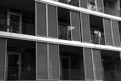 抽象建筑图象的外部的大厦 北京,中国黑白照片 免版税库存图片