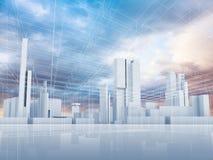 抽象当代城市背景3 d 库存例证