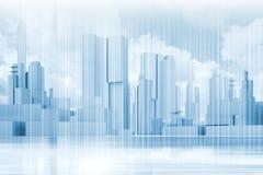 抽象当代蓝色城市背景 库存例证