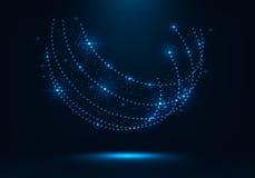 抽象形状包括发光的小点五颜六色的不可思议的发光的地球 免版税图库摄影