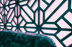 抽象彩色玻璃窗在温泉中心 蝴蝶下落花卉花重点模式黄色 免版税库存图片