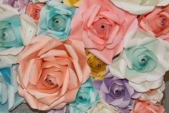 抽象彩虹五颜六色的美丽的玫瑰色花纸 库存照片