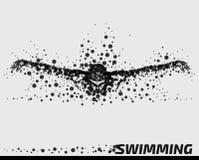 抽象微粒男性游泳者 向量例证