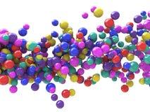 抽象微粒背景-色的球波浪  免版税库存图片