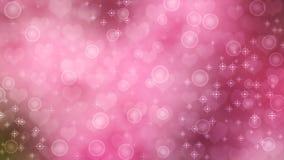 抽象心脏、闪闪发光和泡影在桃红色背景中 库存照片