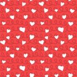 抽象心脏和绳索无缝的样式乱画纹理 免版税库存图片