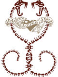 抽象心脏蛇纹身花刺设计 免版税库存照片