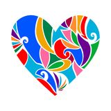 抽象心脏被隔绝的由五颜六色的卷毛做成 皇族释放例证