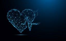 抽象心跳形式线和三角,在蓝色背景的点连接的网络 库存照片