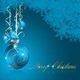 抽象快活背景蓝色的圣诞节 库存例证