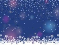 抽象您的圣诞快乐的冬天夜光模糊的背景和新年快乐设计 库存例证
