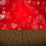 抽象情人节设计 心脏泡影有木背景 免版税库存图片