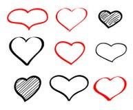 抽象手拉的传染媒介乱画心脏 库存图片